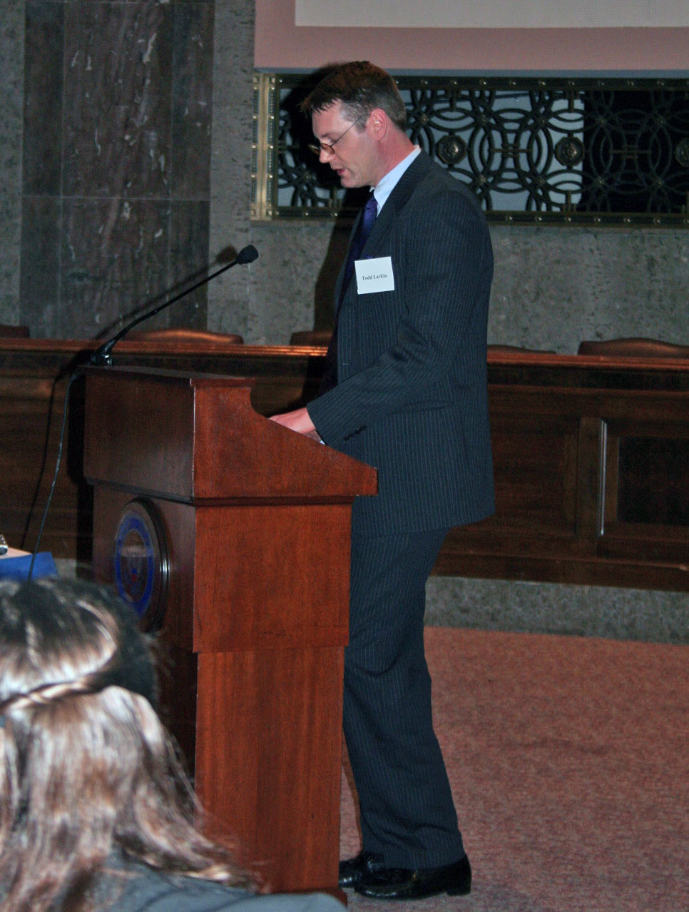Larkin speaks before the United States Capitol Historical Society, Dirksen Senate Office Building, Washington, D.C., October 2007.