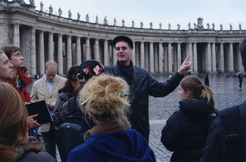 Larkin leads Montana State University students on a tour of St. Peter's basilica, Vatican City, February 2006.