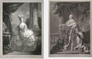 LEFT: Barthélemy Roger (after E. Vigée Le Brun), Marie-Antoinette de Lorraine d'Autriche, Reine de France, 1821, engraving RIGHT: Charles Clément Bervic (after A. F. Callet), Louis Seize, Roi des Français, Resaurateur de la Liberté, 1790, engraving